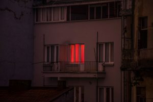 Untitled (A television glows inside an apartment on the European side of the Bosphorous)