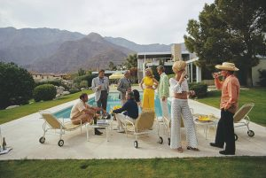 Desert House Party: A poolside party at a desert house, designed by Richard Neutra for Edgar J. Kaufmann, in Palm Springs, January 1970