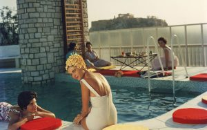Penthouse Pool: Young women by the Canellopoulos penthouse pool, Athens, July 1961